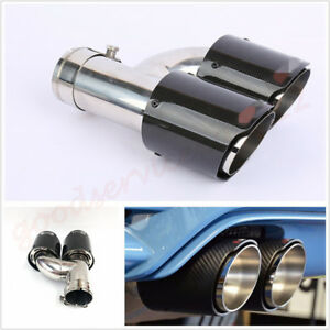 Real Carbon Fiber 76-101mm Right Side Car Dual Pipe Exhaust Modified Muffler Tip