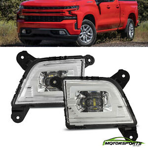For 2019 2020 Next Gen Chevy Silverado 1500 LED Clear Front Fog Light Lamp Kit