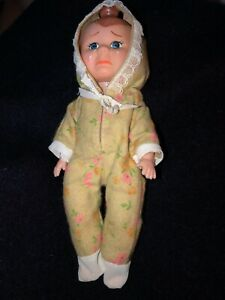 "Vintage 3 Face Doll Hong Kong 8"" Tall Turn Knob to change Faces Sad Happy Sleepy"