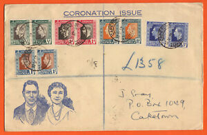 SOUTH AFRICA - 1937 KGV1 CORONATION ISSUE IN BILINGUAL PAIRS ON REG'D FDI COVER