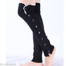 Womens Knitted Stocking Leg Warmers Button Lace Legging Boot Black