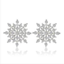 Women's Silver Rhinestone Crystal Snowflake Flower Stud Earring Jewelry WG