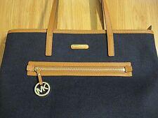 Michael Kors Kempton Large Canvas Leather Tote Shoulder Bag Navy - New