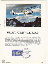 Grande carte (16x22cm) 1 er jour timbrée encart 1975 hélicoptère GAZELLE