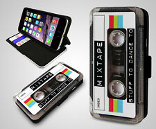 Retro Quirky Cassette Tape Dance Mix Stuff Leather Wallet Flip Phone Case Cover