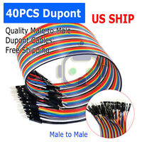 1X 40PCS Dupont Wire Jumper Cables 20cm 2.54MM Male to Male 1P-1P For Arduino