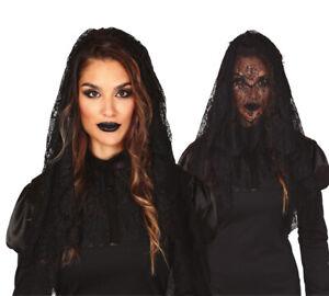Long Black Veil Halloween Gothic Funeral Headcover Shawl Mantilla Fancy Dress