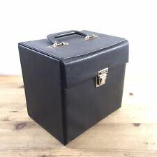 "Vintage 7"" singles Black Faux Leather vinyl carry case - Retro Record Box"