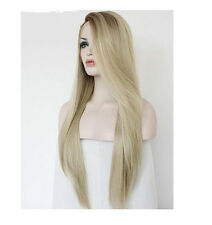 Women's Fashion Dark Root Long Straight Straight Blonde Wig Synthetic Hair Wigs