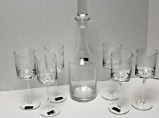Vintage TOSCANY Crystal Wine Decanter & 6 Glasses Hand Blown & Hand Cut