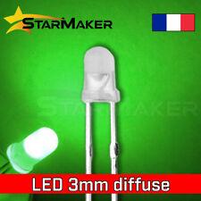 LED 3mm diffusant Vert - 10 à 100 pcs - LED Diffused Green fog