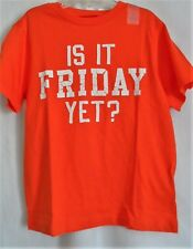 BOYS S 5-6 ORANGE IS IT FRIDAY YET S/S COTTON SHIRT NWT ~ THE CHILDREN'S PLACE