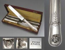 Puiforcat & Fuchs, Rare 19th Century French Sterling Silver Knives, Paris, 6 pcs
