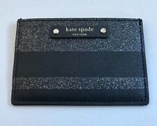 Kate Spade Haven Lane Black GlitterStripe Leather Card Case Wallet New with Tags