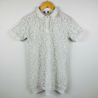 MSGM Italy Womens Blouse Top Size 40 (AU 10-12) White Lace Floral Short Sleeve