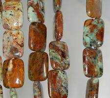 14X10MM AFRICAN GREEN OPAL GEMSTONE BROWN GREEN RECTANGLE LOOSE BEADS 16""