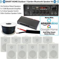 5 Zone Outdoor Bluetooth System-10x Weatherproof White Speaker–Garden Stereo Kit