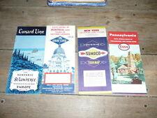 lot de 4  cartes routiere et autre esso road map 1950 pennsylvania canada etc
