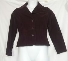 St. John's Bay Women's Burgundy Stretch Coat Jacket Corduroy Petite Medium PM