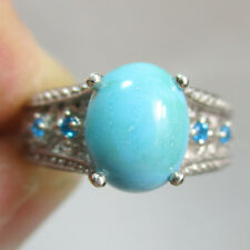 Vintage TURQUOISE and BLUE TOPAZ Filigree 925 Sterling Silver Ring - Size 8