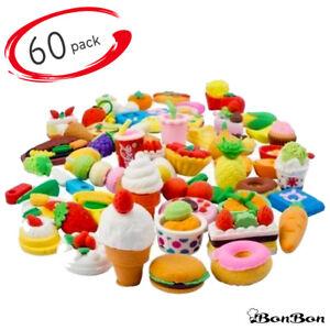 BonBon Kids Realistic Looking Food Eraser Set, Pack of 60