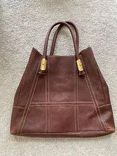 Auth Valentino Garavani Large Leather Tote Handbag Turquoise Jewel Detail Brown