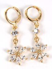 Women's 18 Carat Gold Plated Clear Zircon Flower dangle Huggie Hoop Earrings