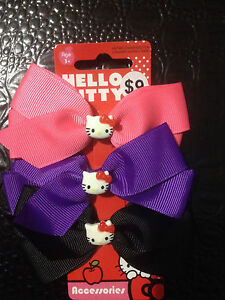 HELLO KITTY CUTE PACK OF 3 HAIR BOWS BNWT GREAT FOR XMAS (AUTHENTIC) SANRIO