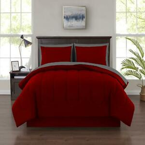 8 Piece Red Queen Size Comforter Set Bedspread Bed in a Bag Bedding Sheets New