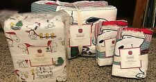 Pottery Barn Kids Peanuts Holiday QUEEN quilt shams sheets SNOOPY teen