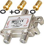 z 2 Fach SAT Verteiler Splitter +3 F-Stecker 7mm Gold Dichtring Splitter Buchse