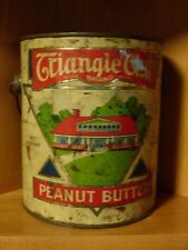VTG TRIANGLE CLUB BRAND LITHO TIN PEANUT BUTTER 5 LB. DIST BY MONTGOMERY WARDS