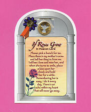"""If Roses Grow In Heaven"" Poem On A  Verse Card with An Angel Penny SKU# 604"
