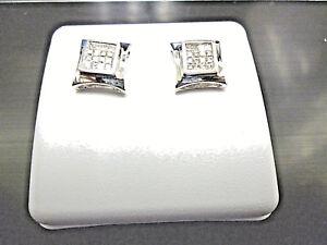 14k white gold,SCREW BACK, 0.60 ctw, Princess Cut Diamonds Stud Earring,