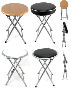Folding Compact Padded Stool Seat Chair Breakfast Bar Seating Home Office UK