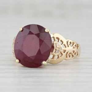 8.3ct Ruby Diamond Hearts Ring 14k Yellow Gold Size 7.5 Cocktail Solitaire