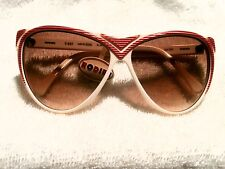 """CLASSIC 1986 RODIER PARIS """"CAT-EYE"""" SUNGLASSES! RED STRIPED   NEW--NEVER SOLD!"""