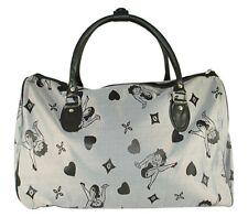 Betty Boop Black & Silver Gray Duffle Bag Carry On Bag Travel Bag Tote Bag