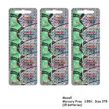 Maxell 379 SR521SW V379 SR521 Silver Oxide Watch Batteries (15 Cells)