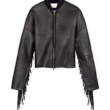 3.1 Phillip Lim Fringe Leather Motorcycle Biker Bomber Jacket Black 6-US $1750