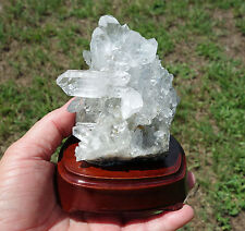 Bright Sparkling Clear Quartz Crystal Points on Custom Wood Base For Sale