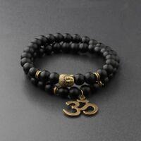8MM Natural Obsidian Beads Double winding Charm Buddha Beads Fashion Bracelets