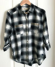 New Hollister Women Black White Plaid Studded Patch Pocket Long Sleeve Shirt S