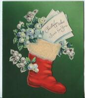 VINTAGE CHRISTMAS RED STOCKING WHITE MISTLETOE HOLLY BERRIES ART GREETING CARD