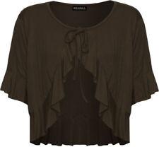 Maglie e camicie da donna a manica corta in marrone con scollo a v
