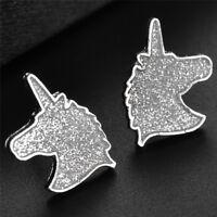 Unicorn Ear Stud Earrings Cartoons Animals Glitters Horse Earrings Women Jewelry