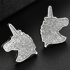 Unicorn Ear Stud Earrings Cartoons Animal Glitter Horse Earrings Women Jewelry