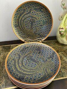 Set of 8 Williams Sonoma Lunar Phoenix Dinner Plate Blue Gold