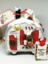 2009 Blue Sky Clayworks Christmas Pracer's Hot Chocolate Stand House Tealight