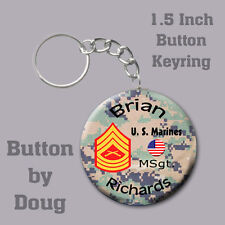 Marine Key Ring/Bag Tag Personalized with Name and Rank of Choice 1.5 inch